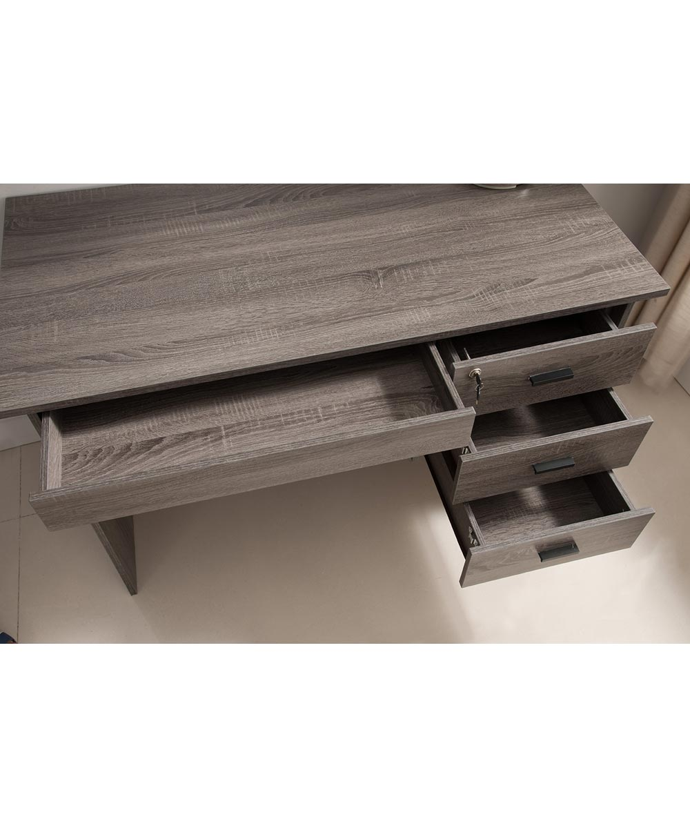 47.25 in. Wide Office Desk with 4 Drawers (3 Lockable), Distressed Gray