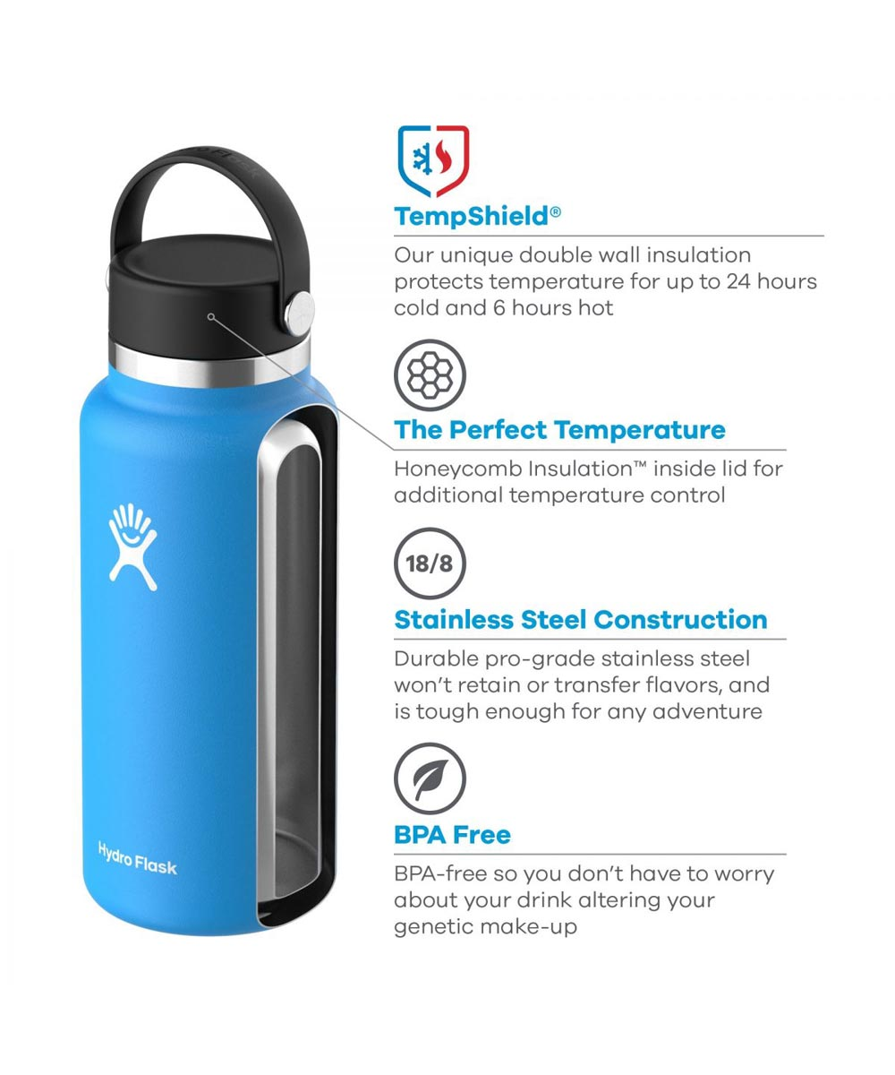 Hydro Flask 32 oz. Wide Mouth Water Bottle, Stainless Steel & Vacuum Insulated, Fog