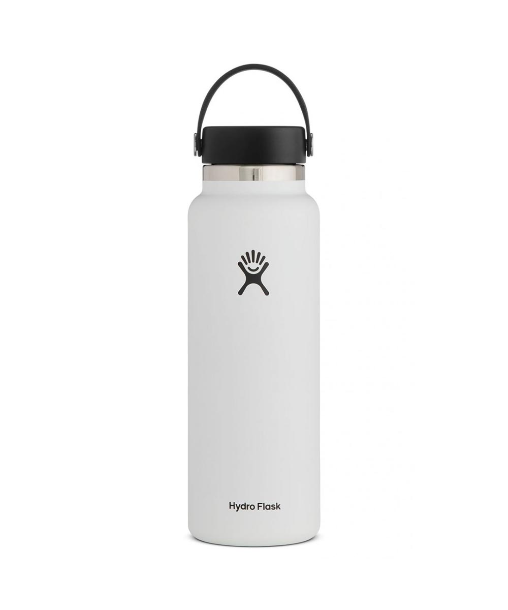 Hydro Flask 40 oz. Wide Mouth Water Bottle, Stainless Steel & Vacuum Insulated, White
