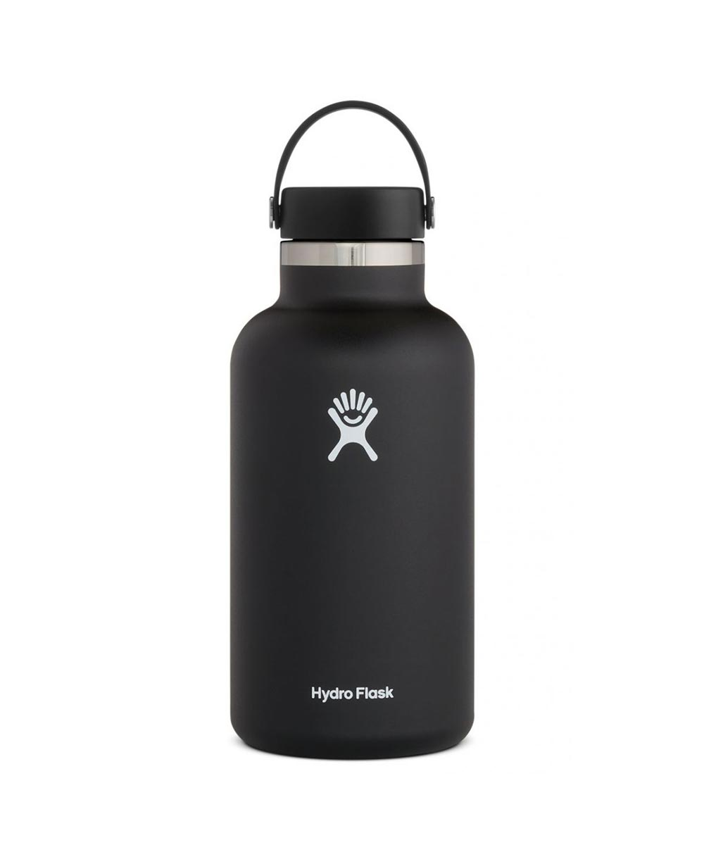 Hydro Flask 64 oz. Wide Mouth Water Bottle, Stainless Steel & Vacuum Insulated, Black