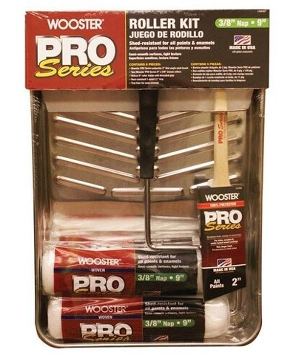 Wooster Pro Series 6-Piece 9 in. Paint Roller Kit (Roller Frame / 3/8 in. Roller Cover / Metal Tray / Liner / 2 in. Angle Brush)