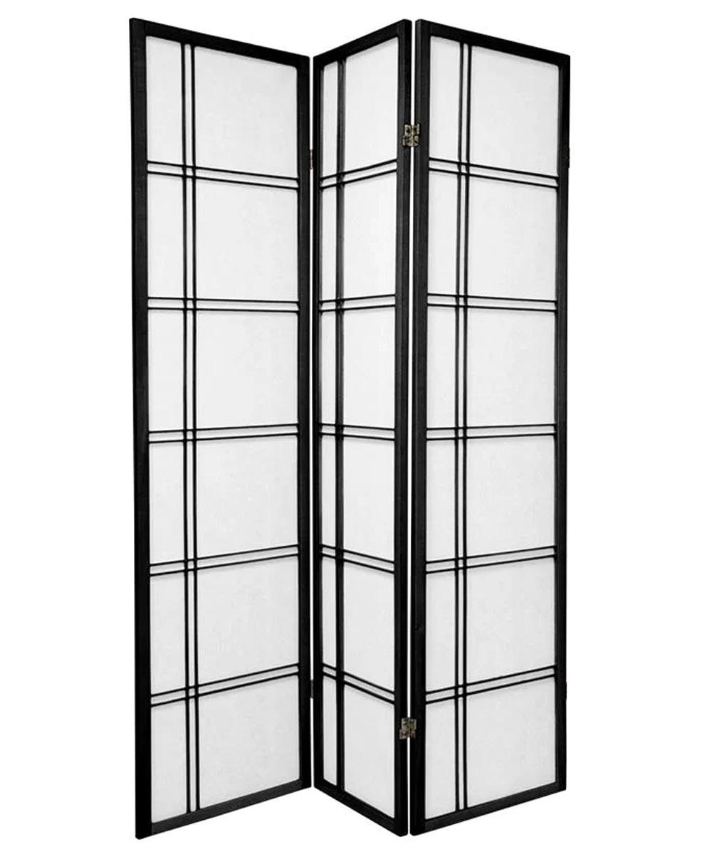 3-Panel Shoji Screen Room Divider, Black Double Cross Design