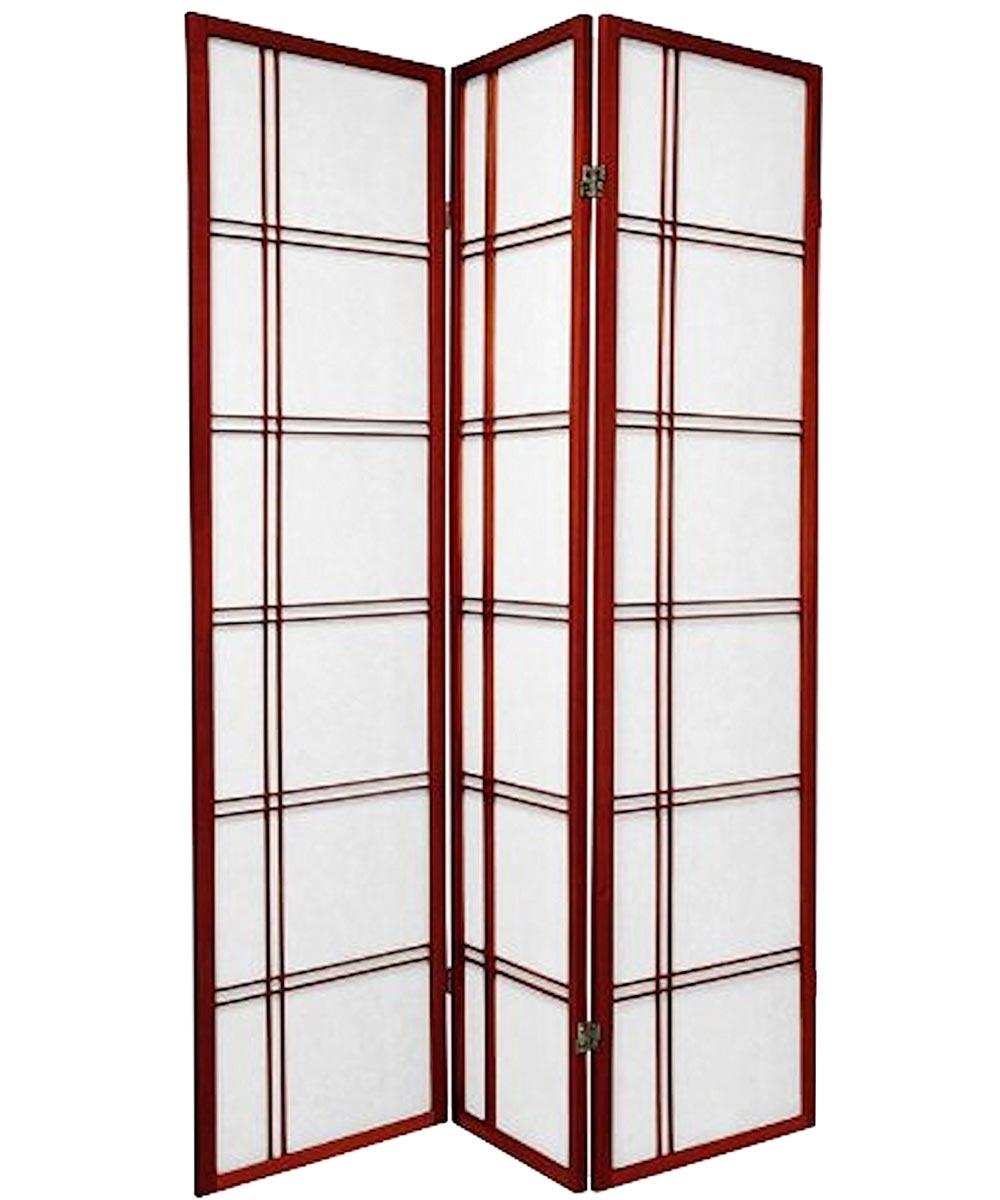 3-Panel Shoji Screen Room Divider, Cherry Double Cross Design