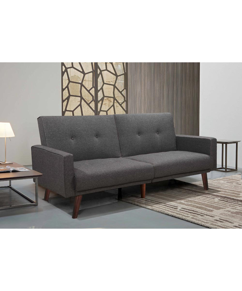 Split Back Linen Fabric Futon Sofa Bed with Tufted Button Design, Gray