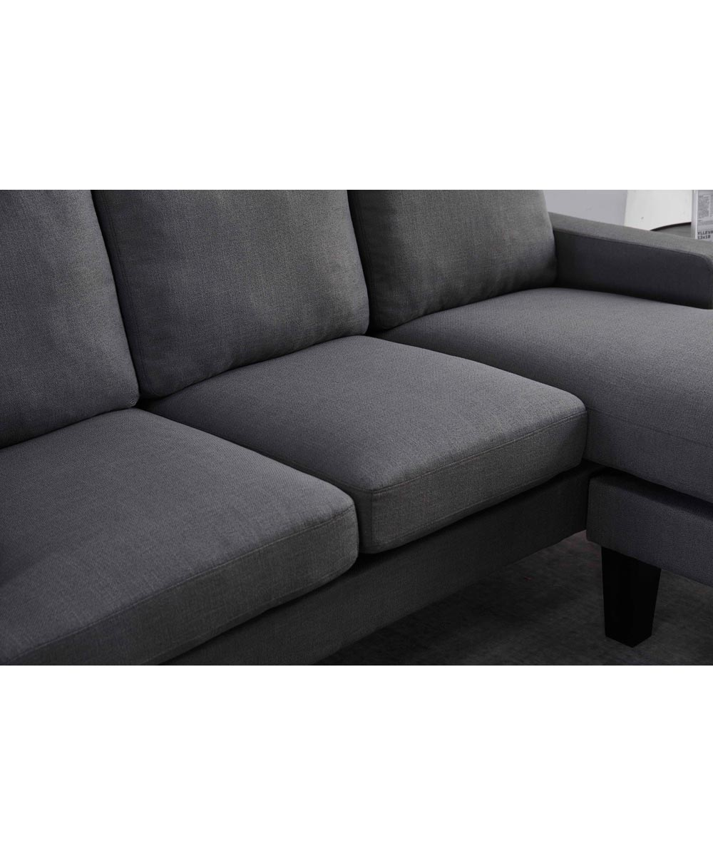 Ava 2-Piece Fabric Sectional Sofa with Reversible Chaise, Dark Gray