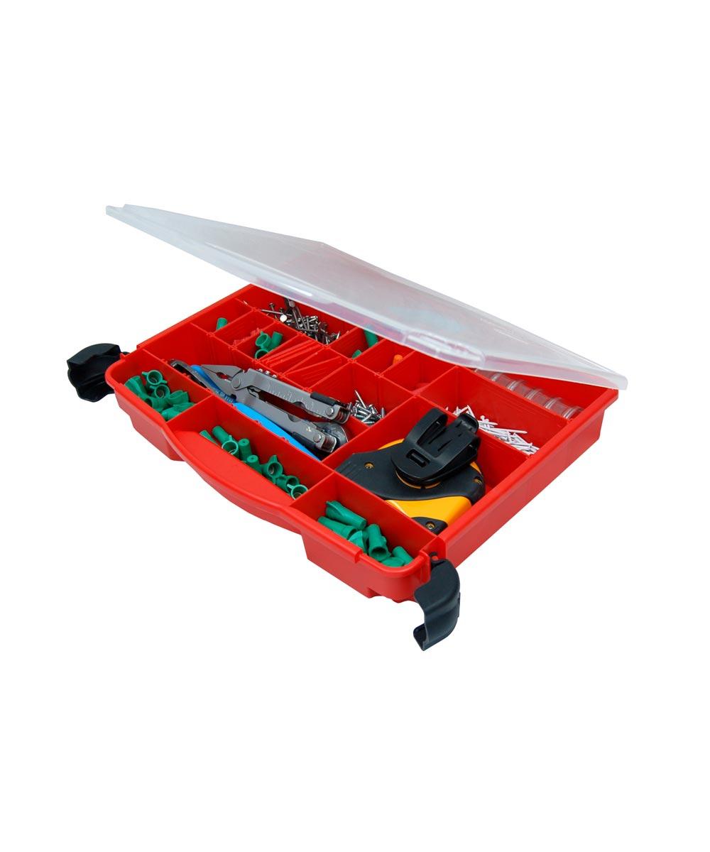 LockJaw Organizer Single Cover Storage Box, 8-30 Adjustable Compartments, Porsche Red