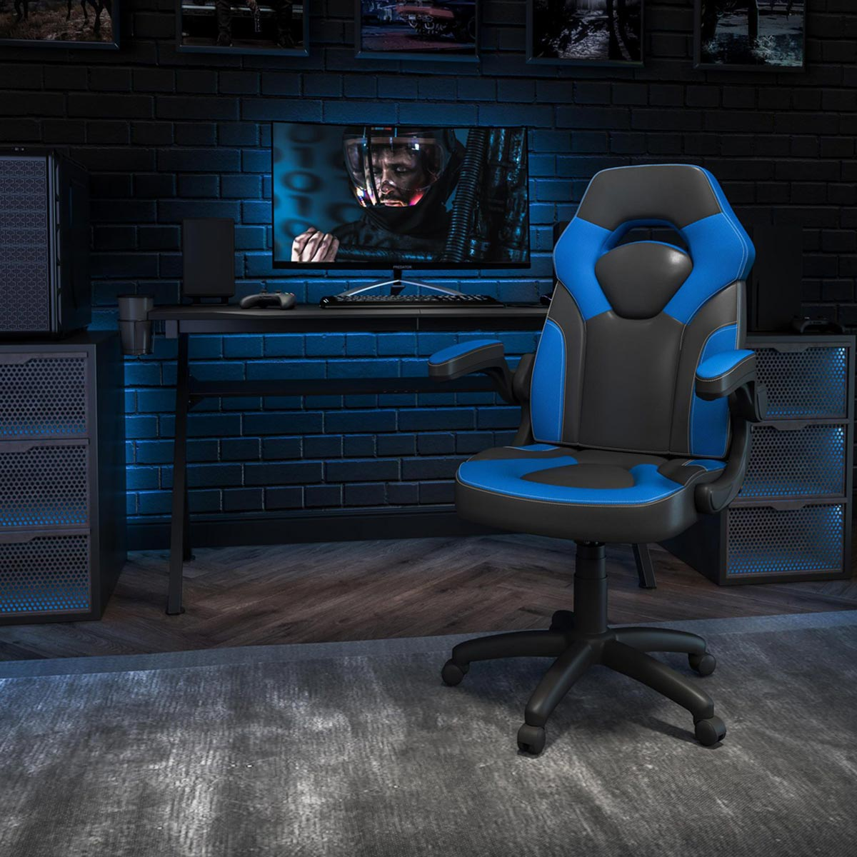 Ergonomic High-Back Computer Gaming Chair with Flip-Up Arms, Blue & Black