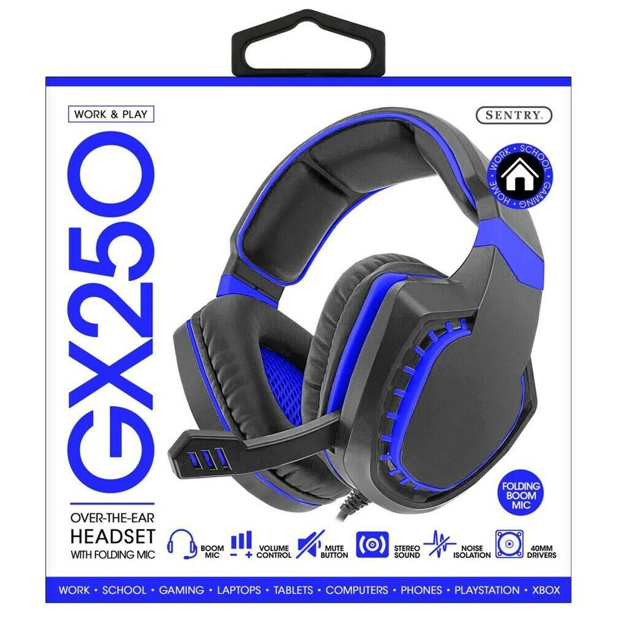 Sentry GX250 Deluxe Over-the-Ear Gaming Headset with Folding Boom Mic, Assorted Colors