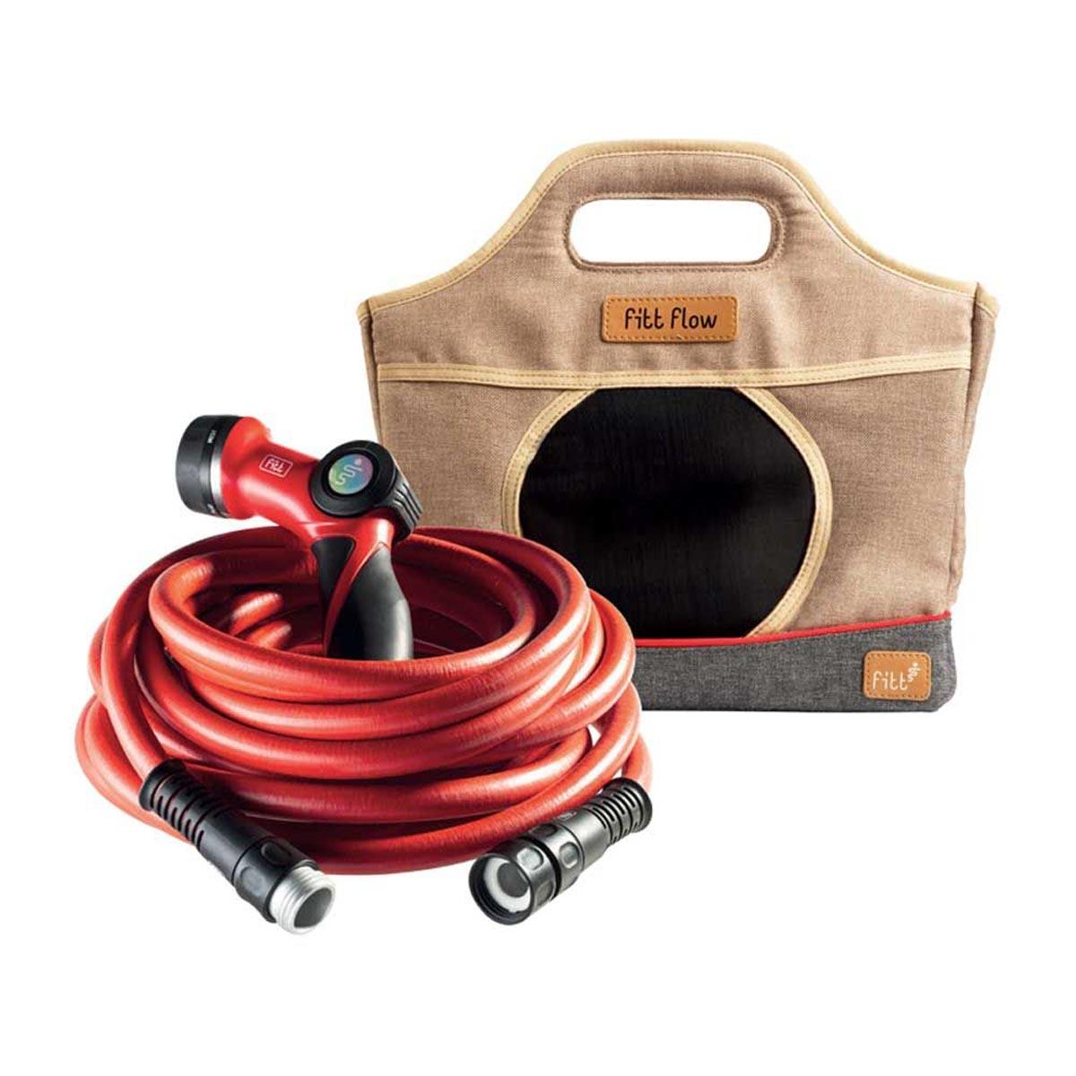 FITT Flow 1/2 in. x 60 ft. Light Duty Lightweight Water Hose Kit with Hose / Multi-Pattern Spray Nozzle / Storage Bag
