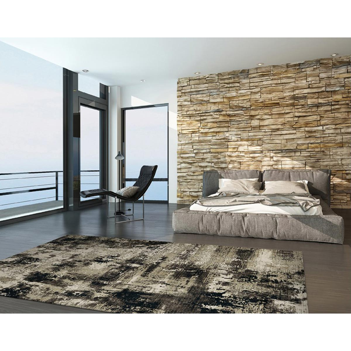 KAS 5 ft. 3 in. x 7 ft. 7 in. Karina Ivory/Charcoal Moda Area Rug