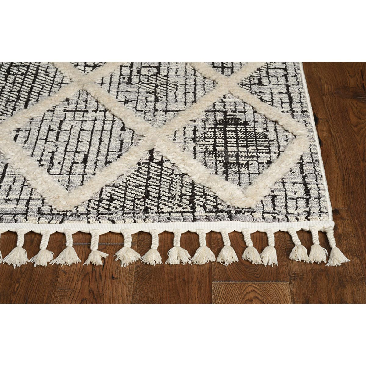 KAS 5 ft. 3 in. x 7 ft. 7 in. Willow Charcoal Diamonds Area Rug