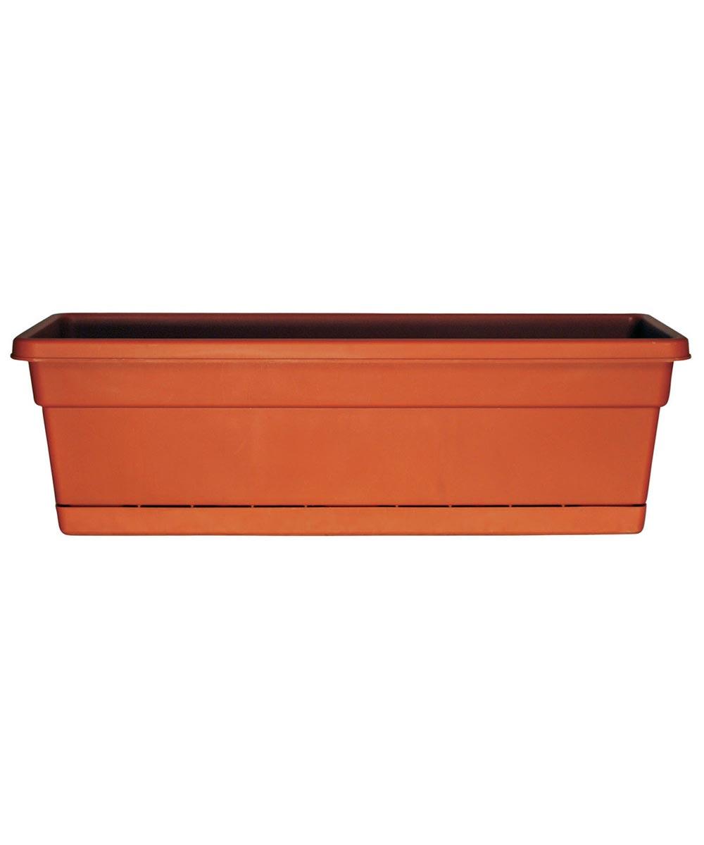 24 in. Terra Cotta Rolled Rim Window Boxes With Attached Trays