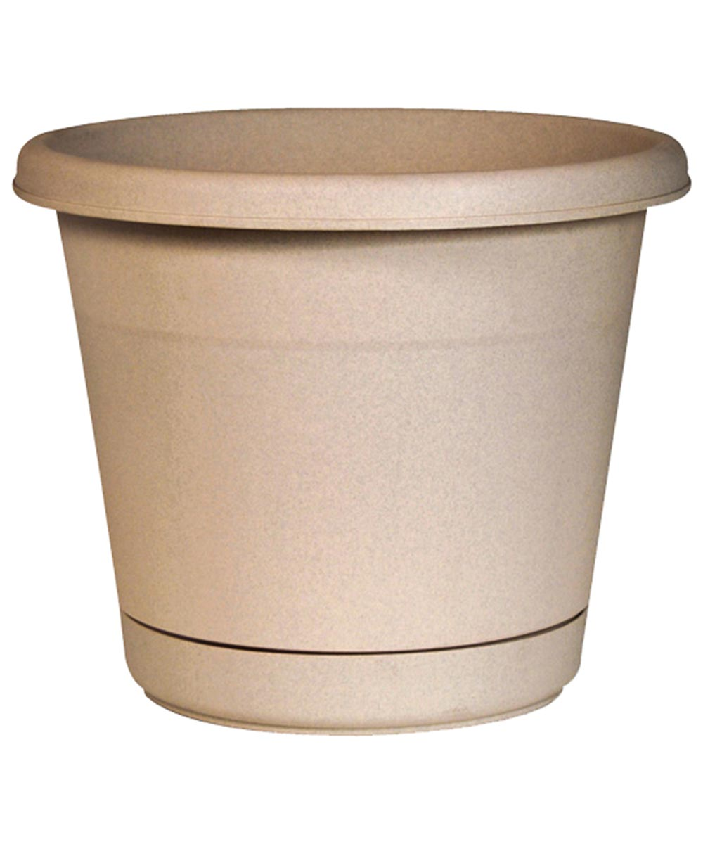 10 in. Tan Oxford Rolled Rim Planter