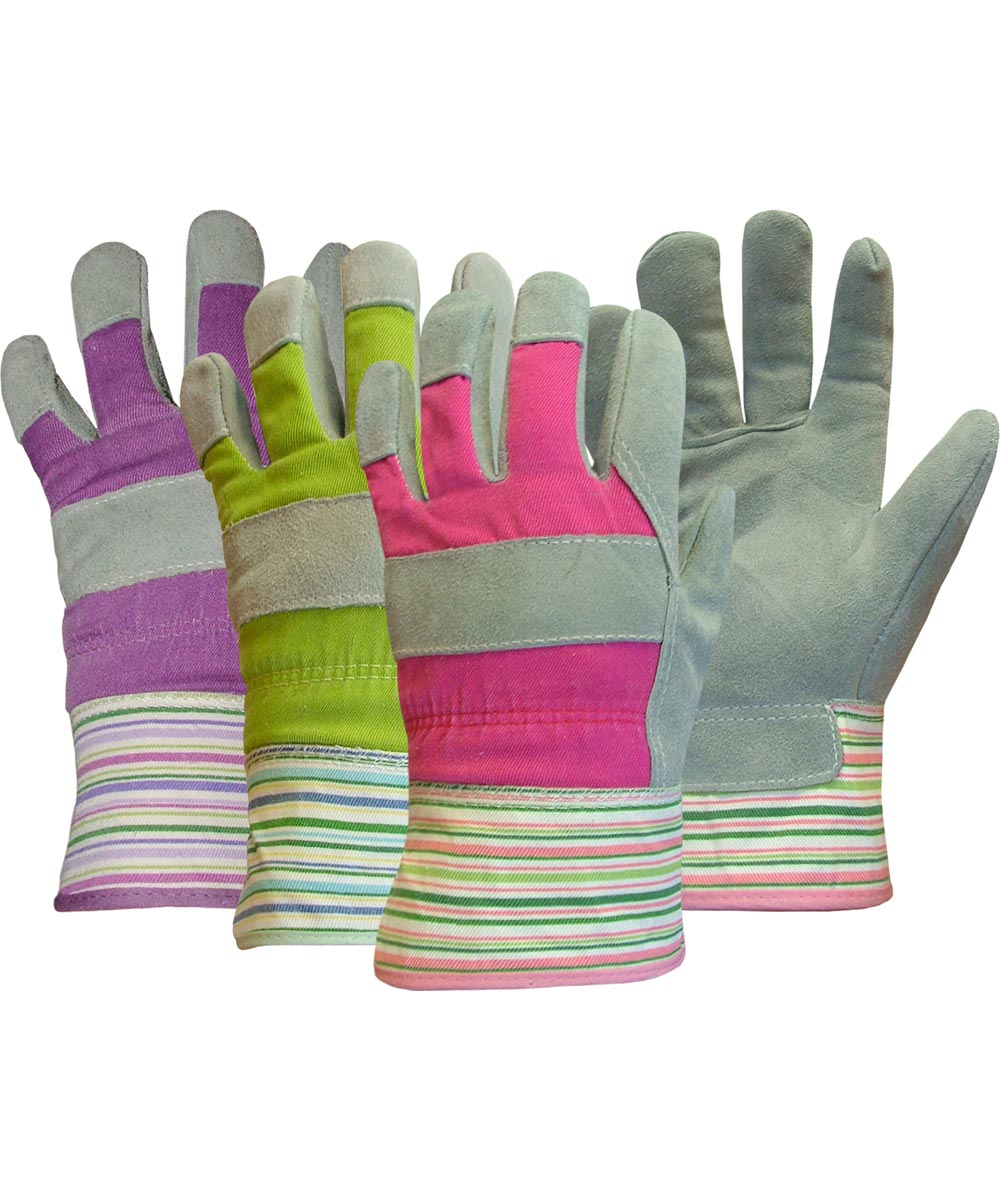 Assorted Colors Ladies Split Palm Leather Gloves