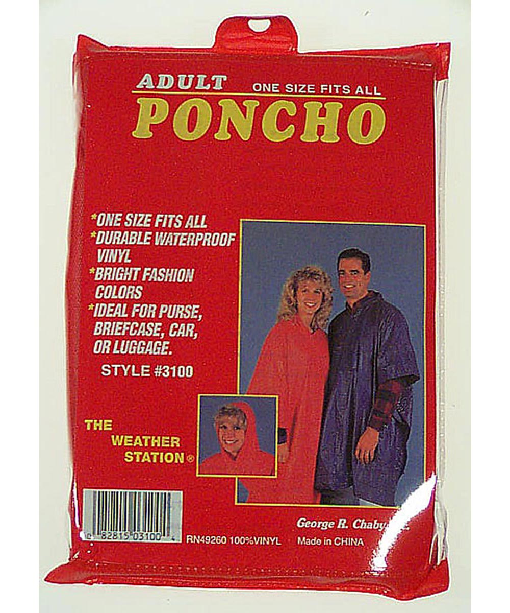 Adult Poncho Assorted Colors