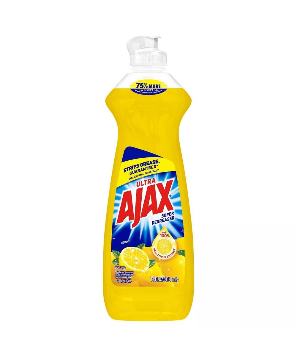Ajax Ultra Super Degreaser Liquid Dish Soap, Lemon Scented, 14 oz.