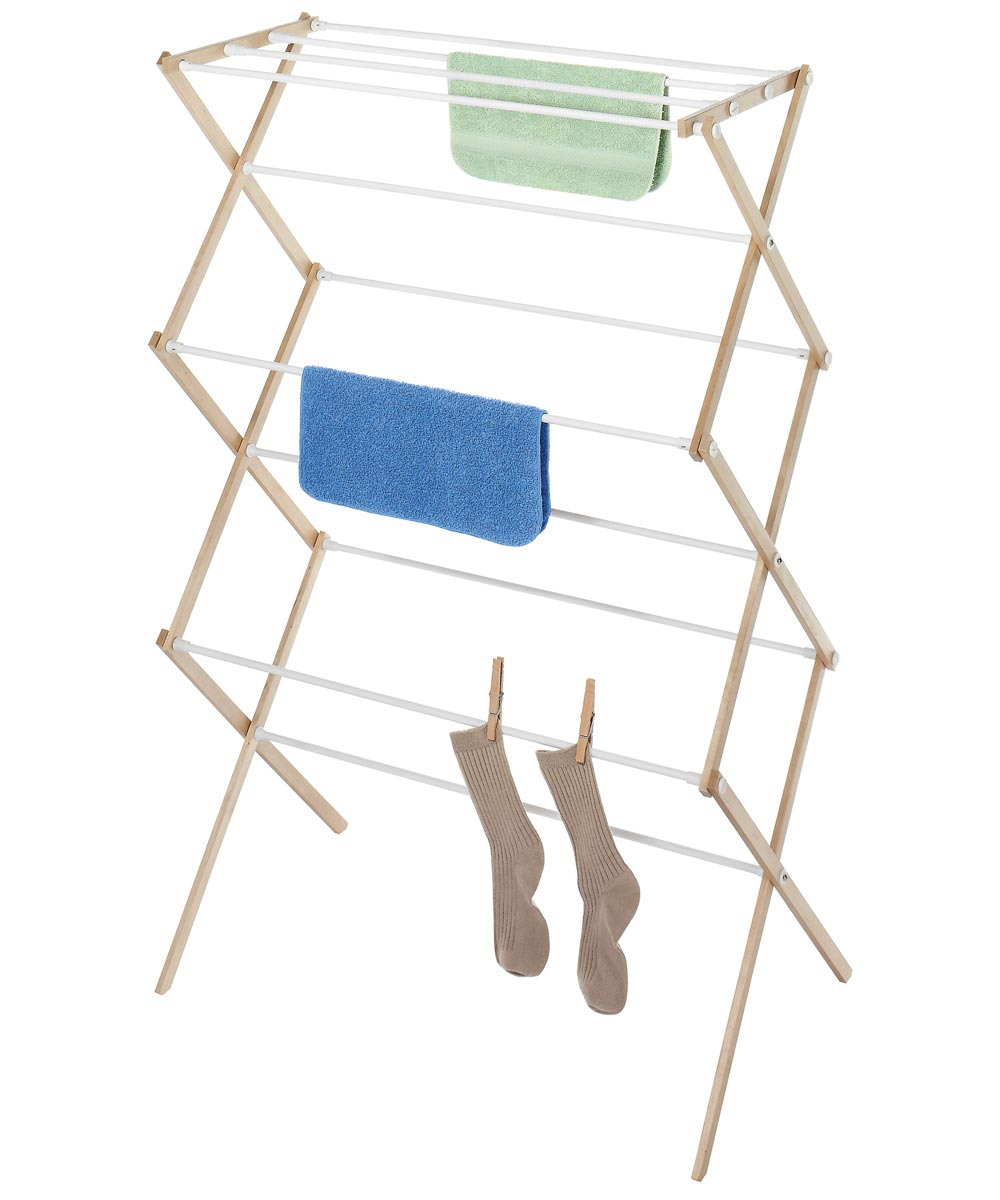 Natural Wood Clothes Drying Rack