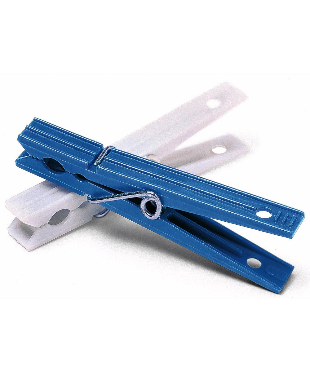 Blue & White Plastic Clothespins 50 Count
