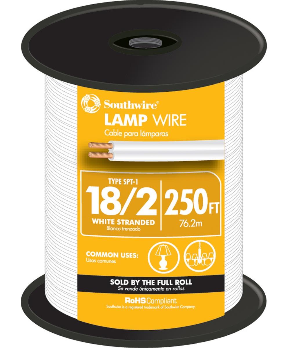 White 18 Gauge 2 Wire Lampwire (Sold Per Foot)