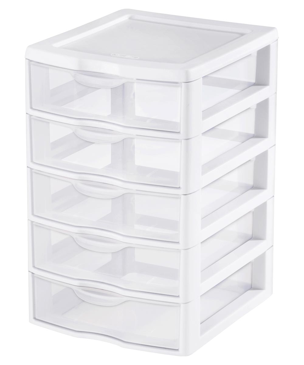 Sterilite Small 5 Drawer Storage Unit, Clear/White
