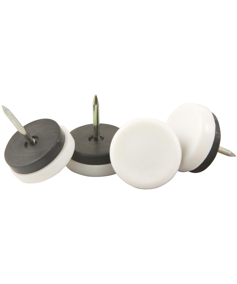 1-1/8 in. White Plastic Nail-On Furniture Glides 4 Count