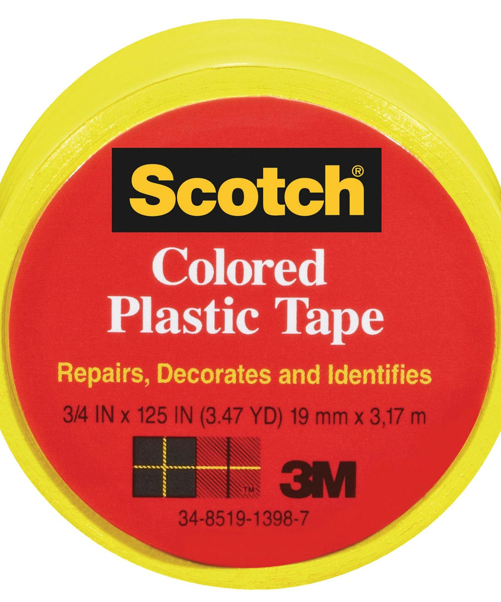 3/4 in. x 125 in. Scotch Yellow Plastic Tape 6 Count
