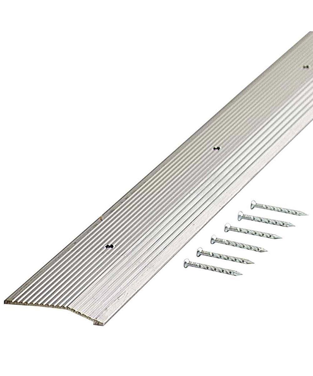 1-3/8 in. x 36 in. Silver Wide Fluted Carpet Trim