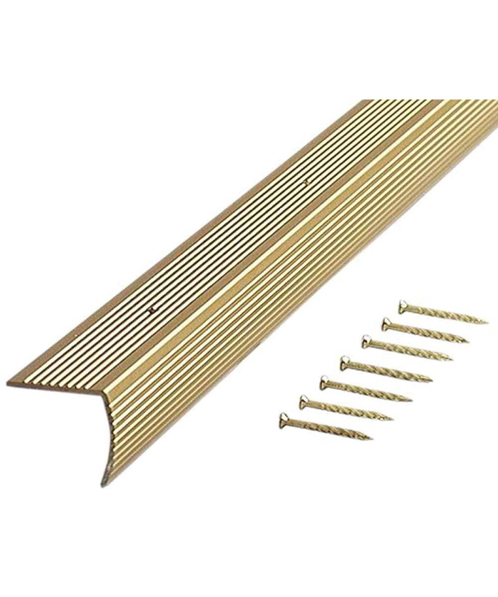 36 in. Satin Brass Fluted Stair Edging