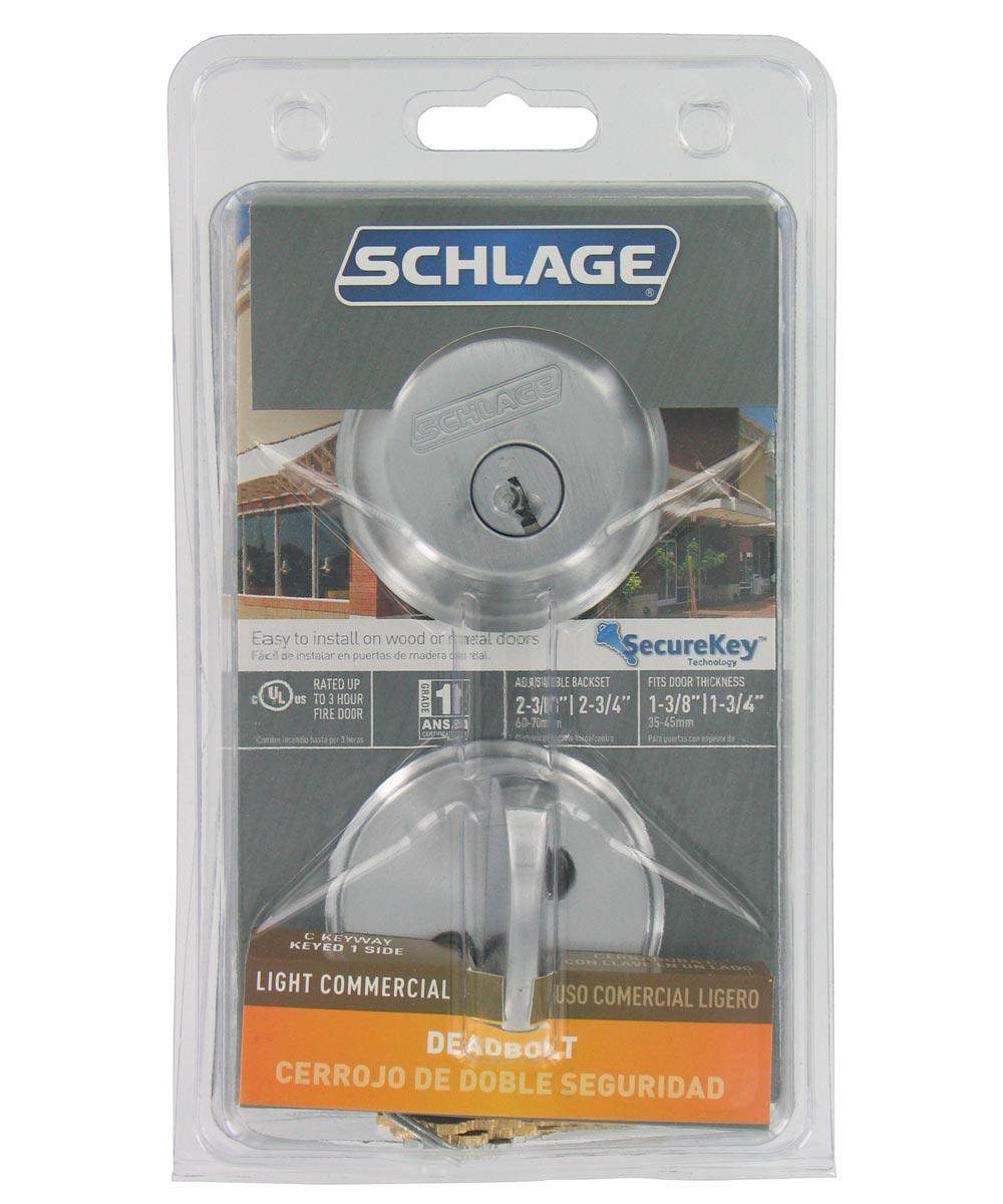 Schlage Single Cylinder Deadbolt, Satin Chrome