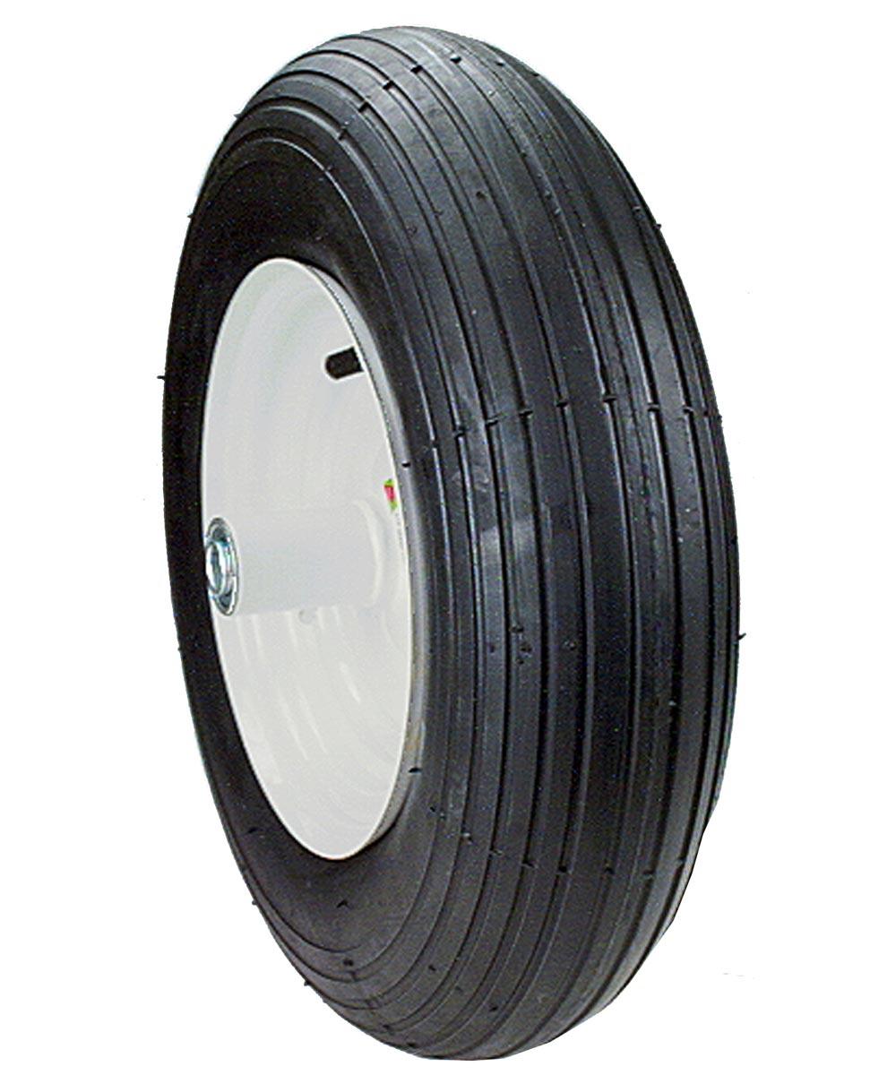 8 in. Wheelbarrow Wheel Assembly, Rib Tread