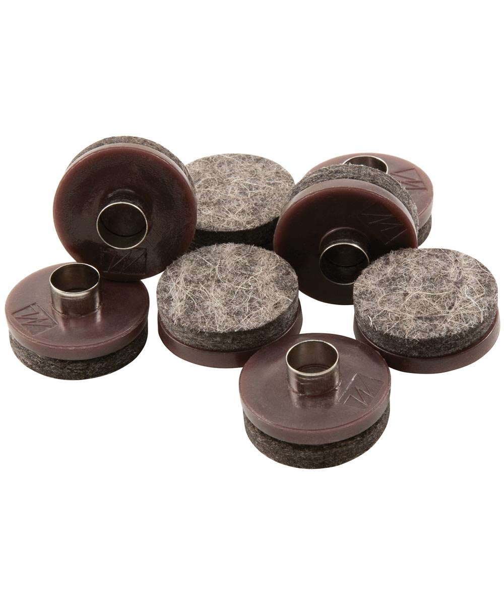 1 in. Brown Round Nail-On Felt Pads 8 Count