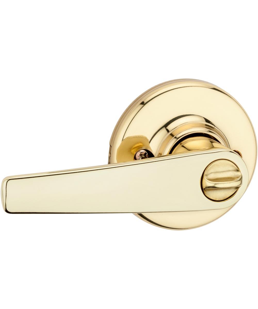 Kwikset Delta Bed/Bath Door Lever, Polished Brass