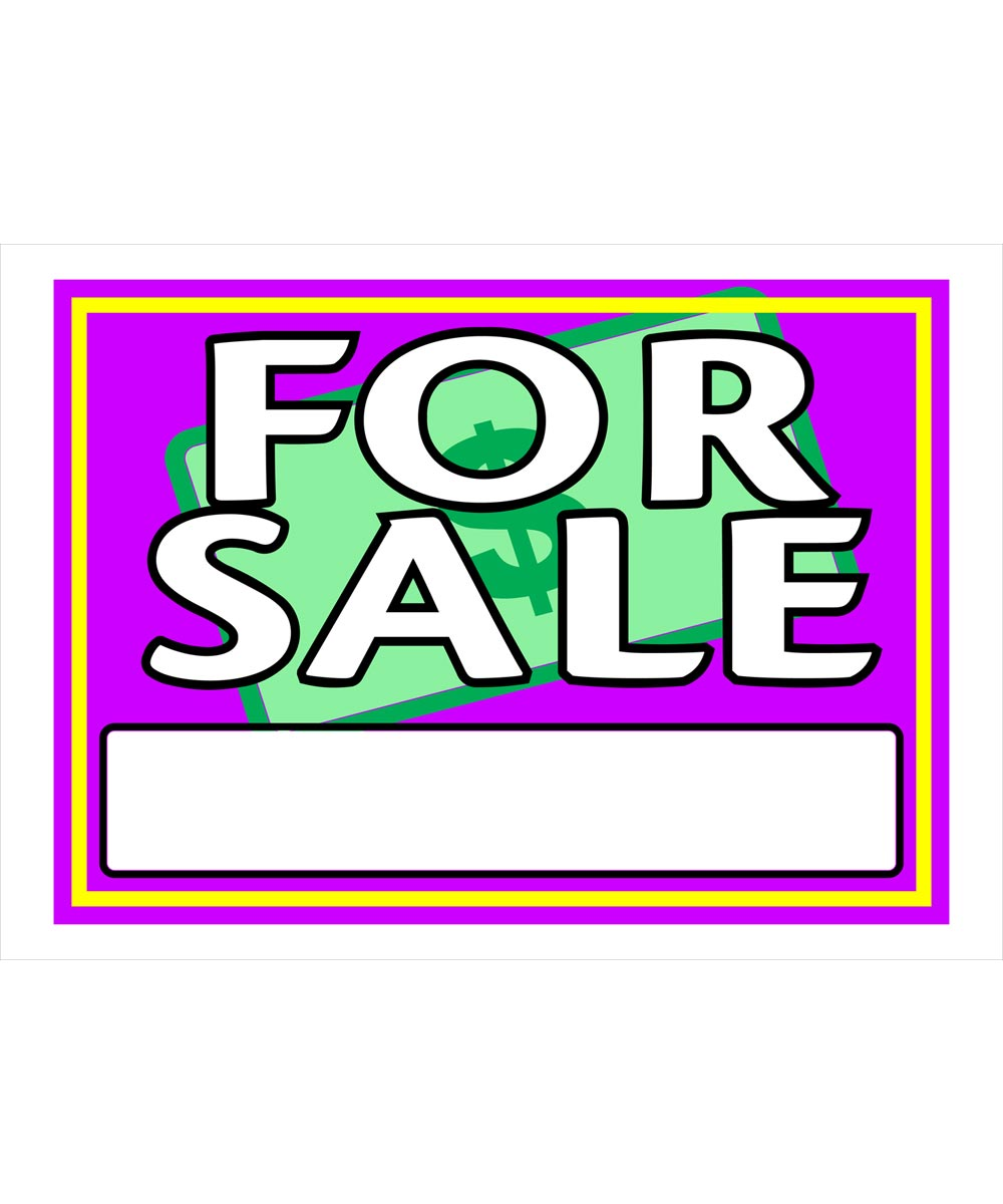 For Sale Vibrant Sign 10 in. x 14 in.