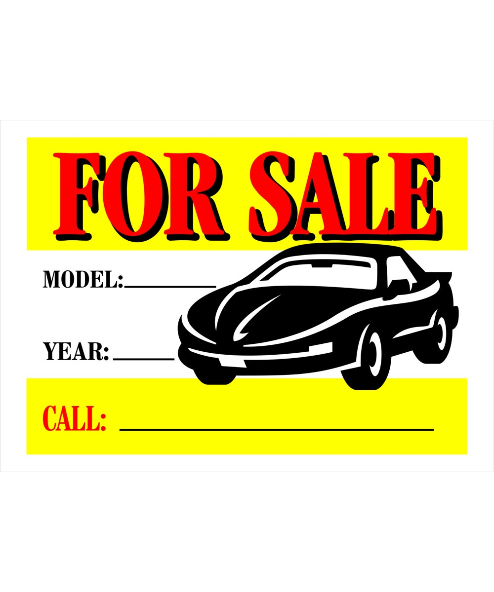 Automobile For Sale Vibrant Sign 10 in. x 14 in.