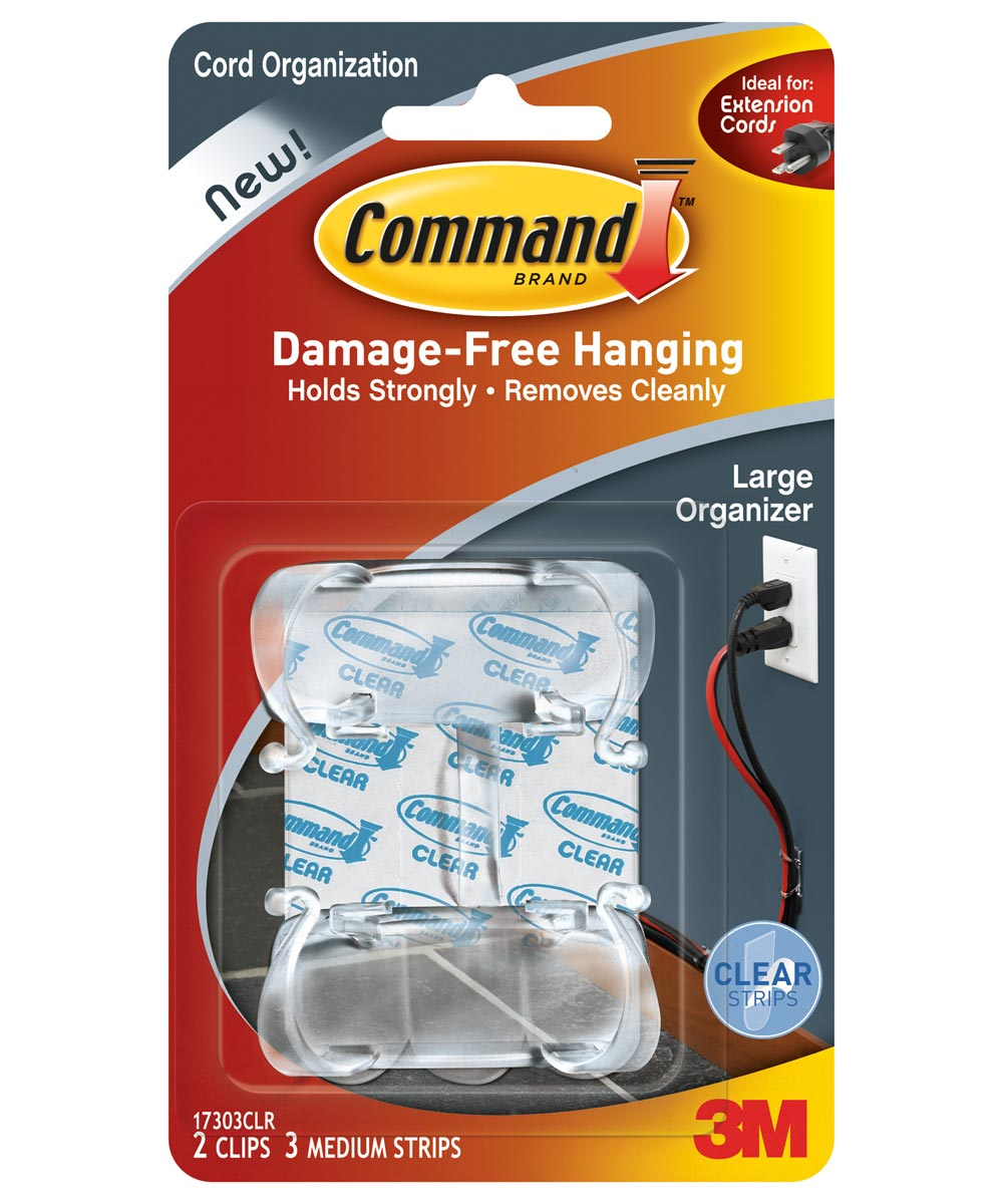 Clear Large Command Cord Clips 2 Count