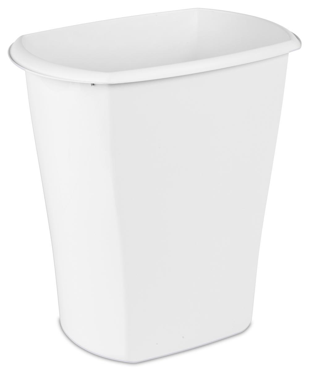 Sterilite 10 Gallon Open Wastebasket, White
