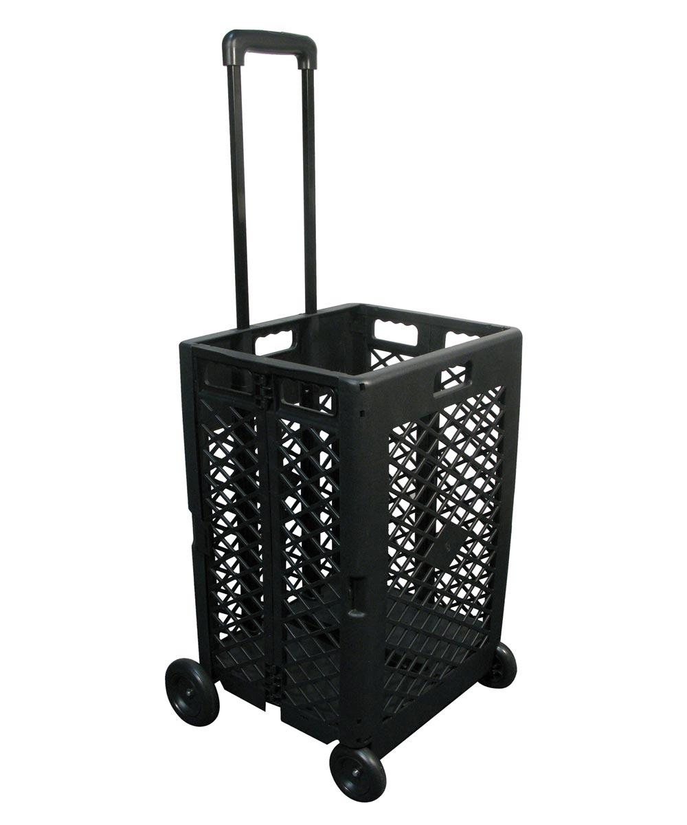 Olympia Tools Folding Mesh Wheeled Cart, Black