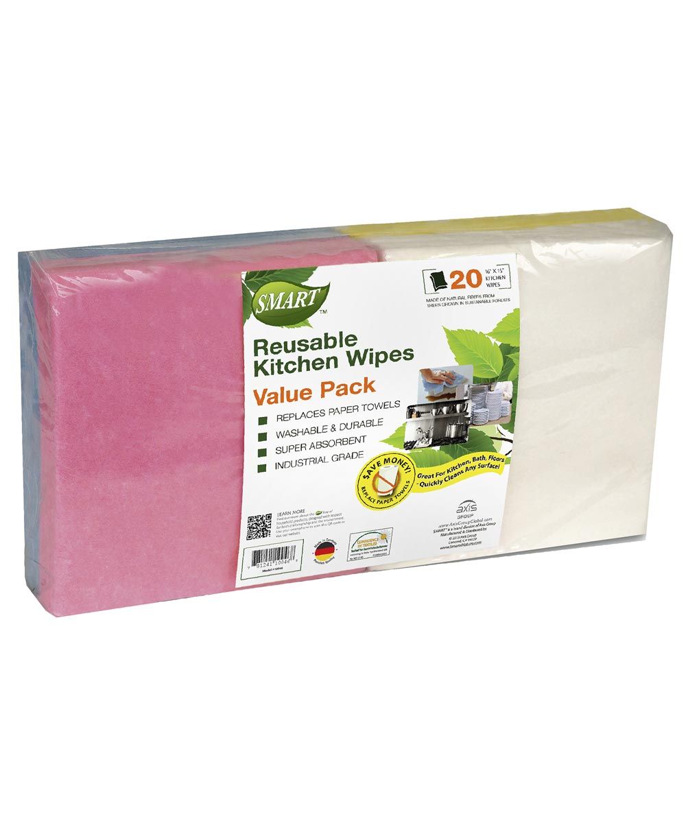 16 in. x 15 in. Reusable Kitchen Wipes 20 Count Assorted Colors