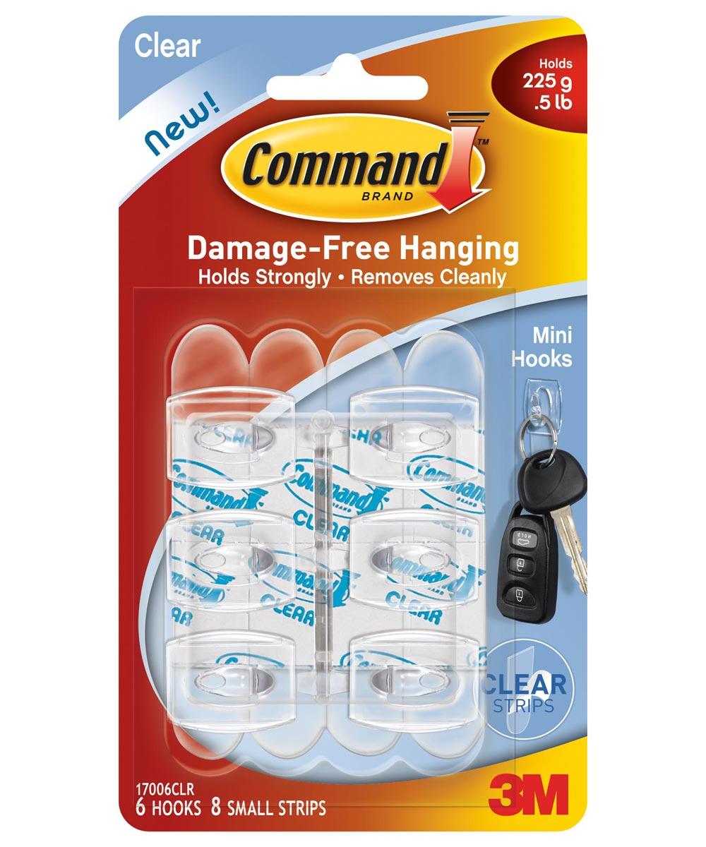 Clear Mini Command Hooks 6 Count