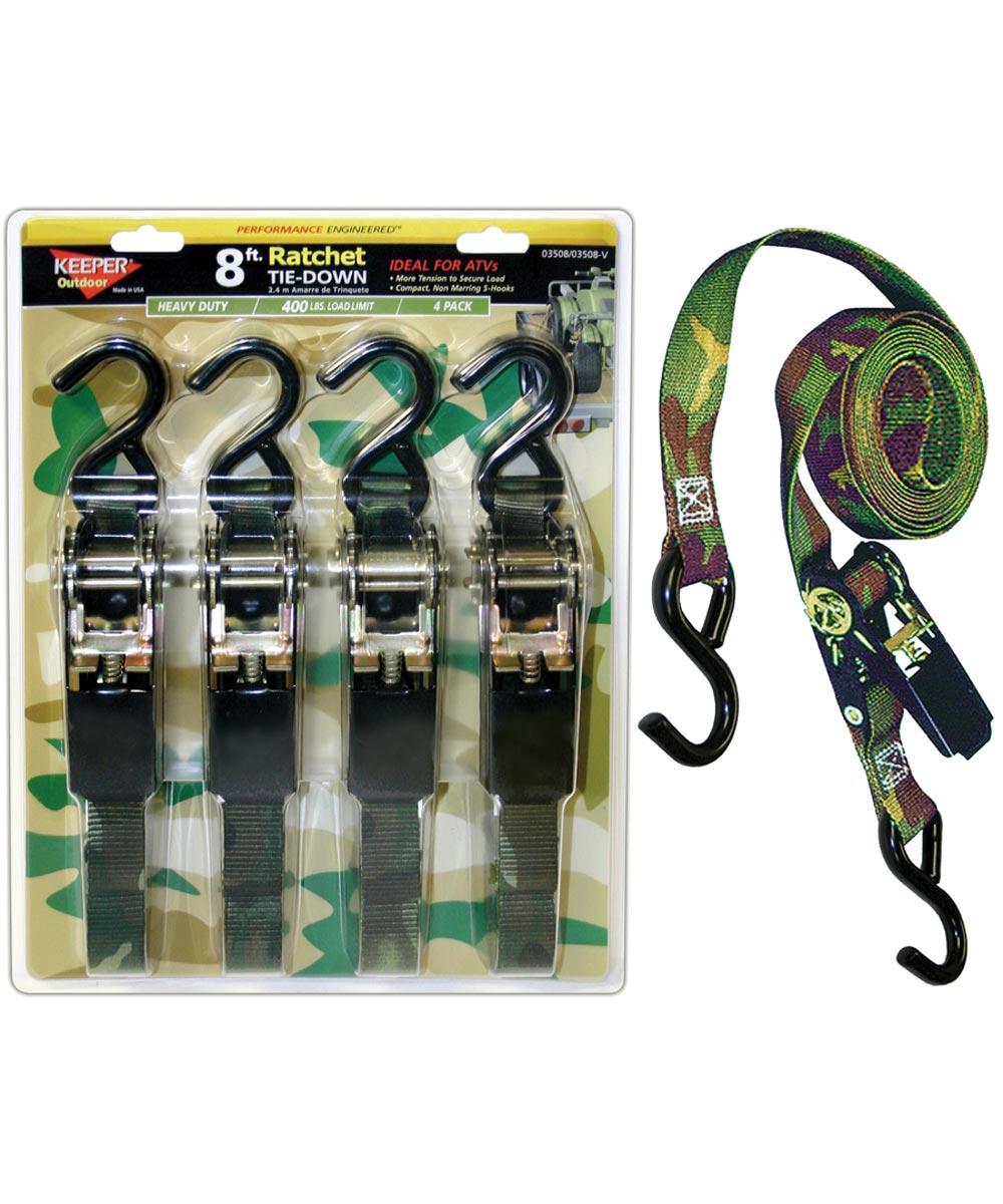 4 Pack 8 ft. Camo Ratchet Tie-Down