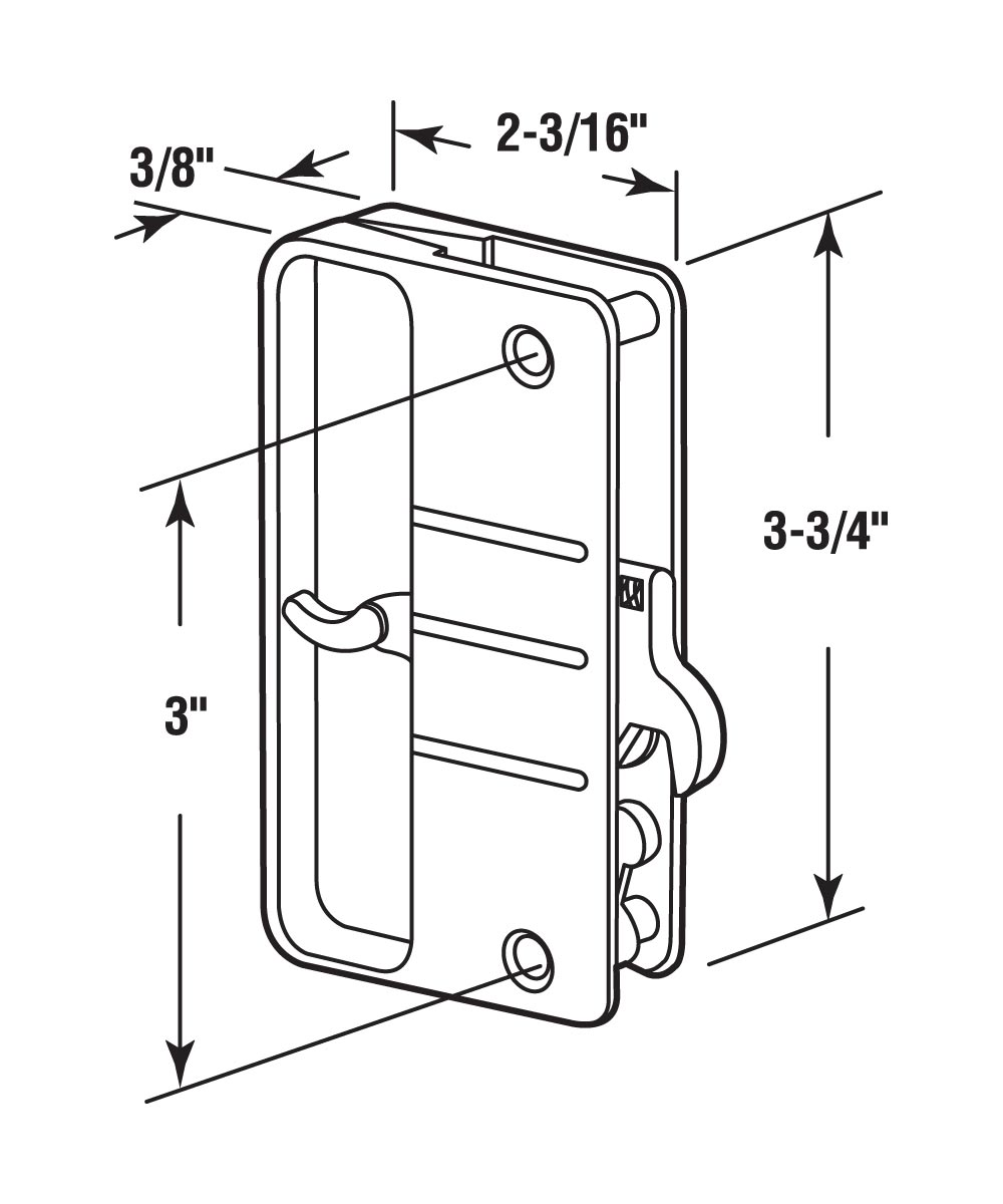 Patio Door Surface with Hook Latch, Extruded, Mill Finish, Keeper, 1 per pkg.