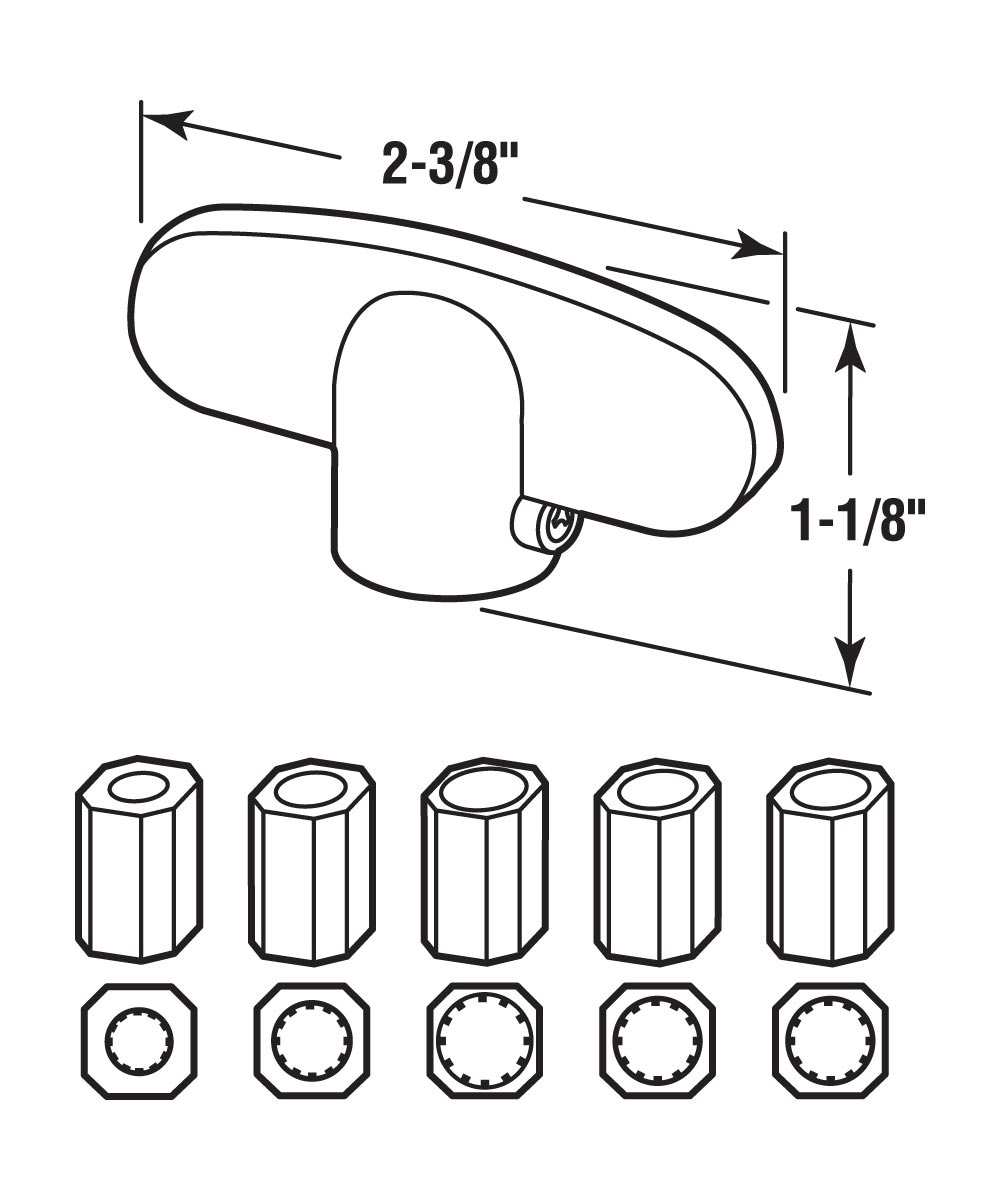Casement Universal Tee Handles, Fits 5 sizes, Aluminum, 2 per pkg.