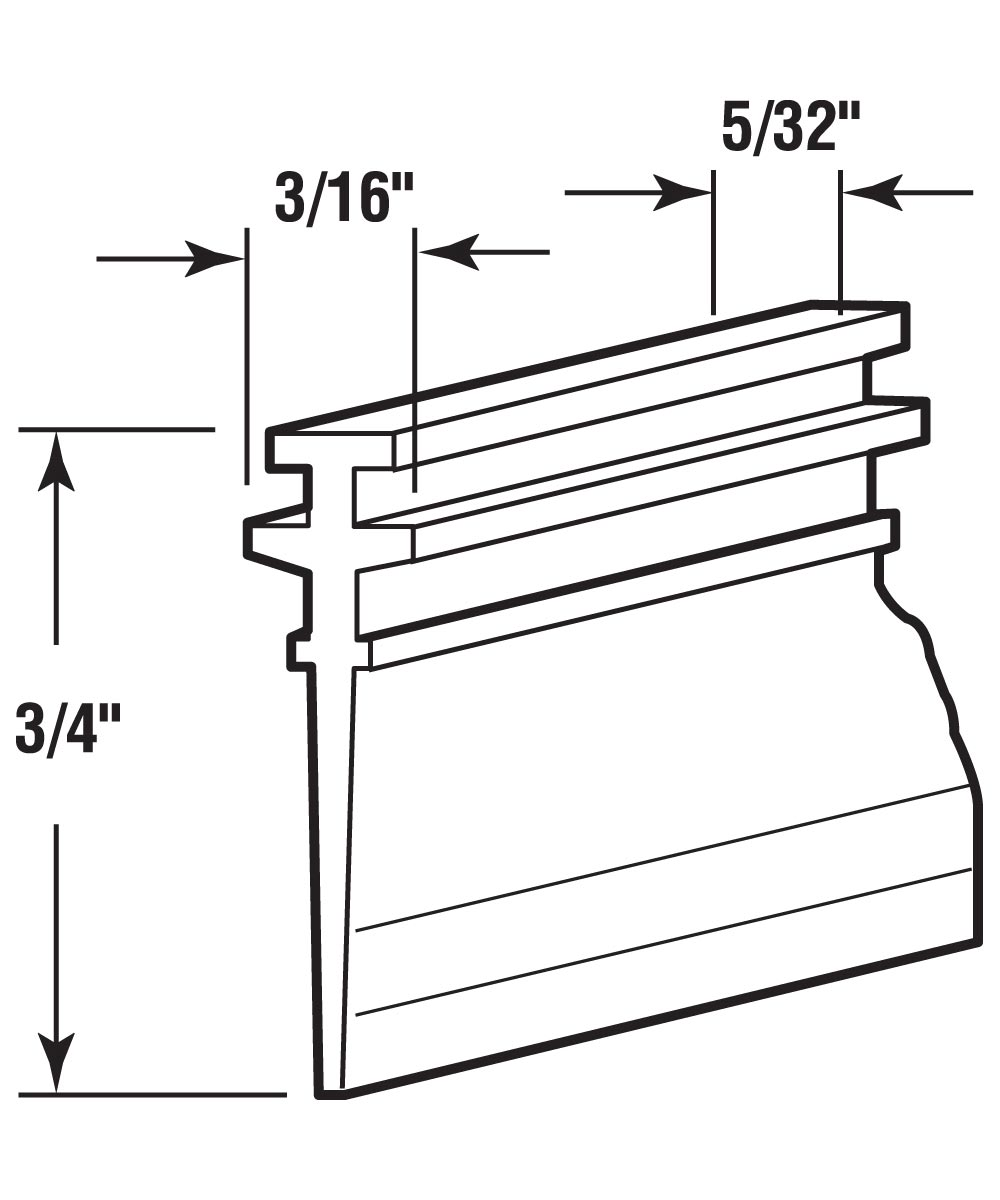 Shower Door Bottom Sweep, Double Tee Insert shape, 3/4 inch, 36 inches, Pack of 1