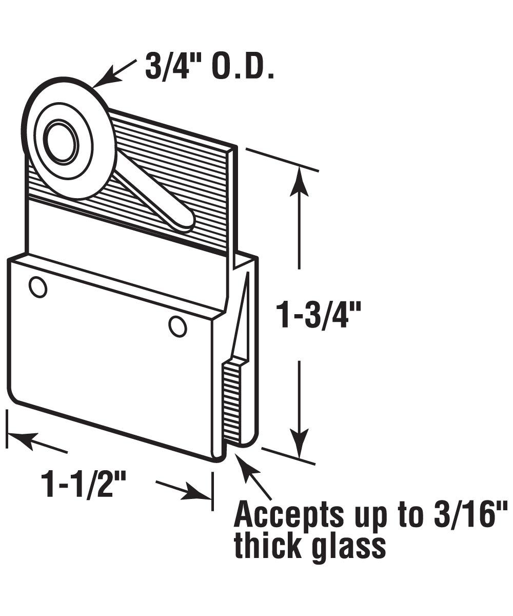 Frameless Shower Door Roller Assembly, 3/4 inch Nylon Roller, Pack of 2