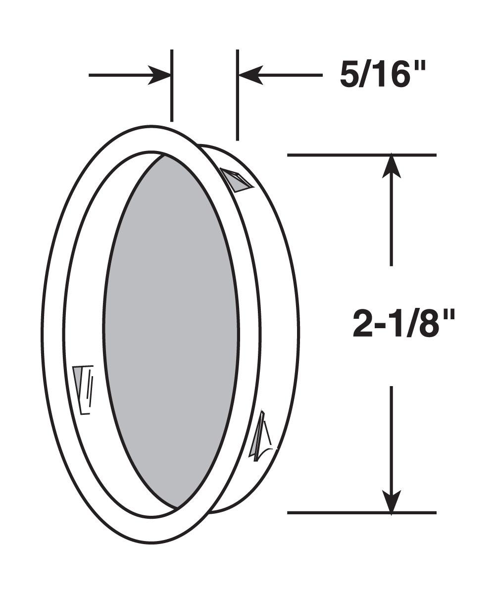 2-1/8 inch inset sliding closet door pull handle, Brass plated, 2 per pkg.
