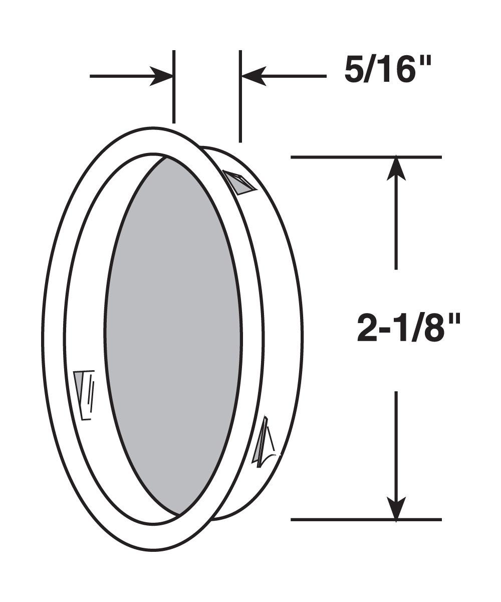 2-1/8 inch inset sliding closet door pull handle, Antique Brass plated, 2 per pkg.