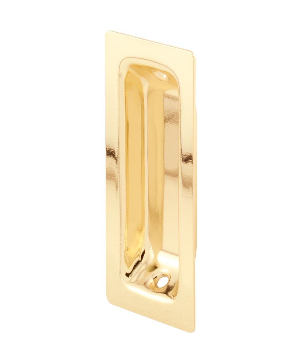 Rectangular face with an oblong inset closet door pull, Brass plated, 2 per pkg.