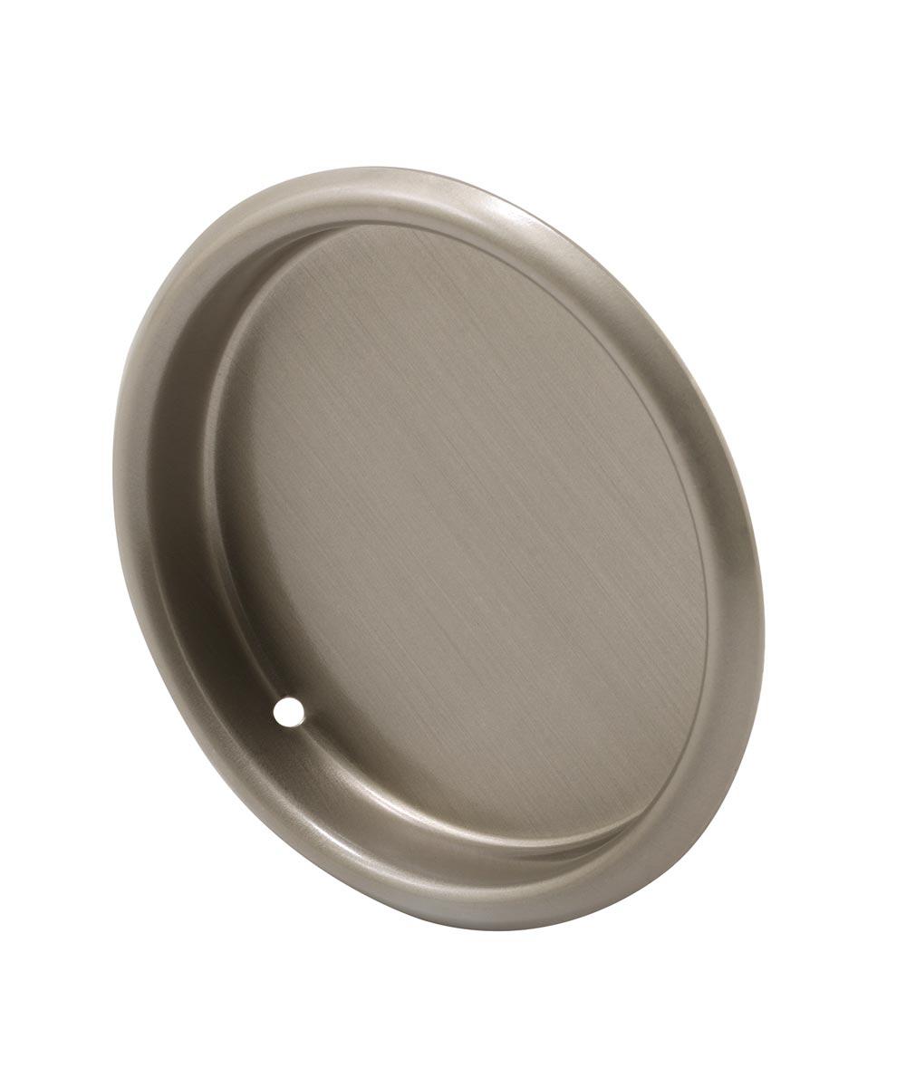 Finger Pull, 2-1/8  inch, Stamped Steel, Satin Nickel, 2 Pack