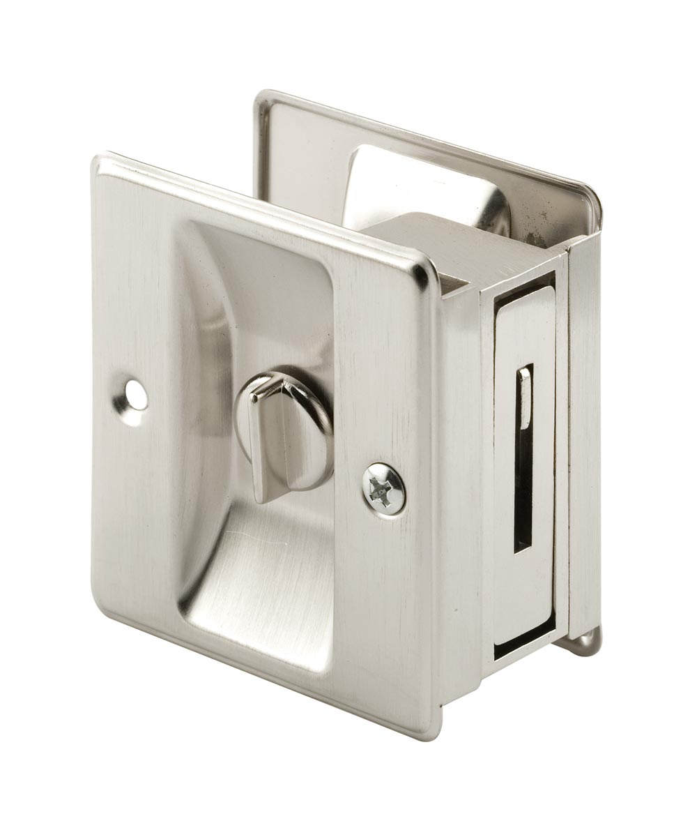 Pocket Door Privacy Lock and Pull, 2-3/4 inch tall, Satin Nickel, 1 pack