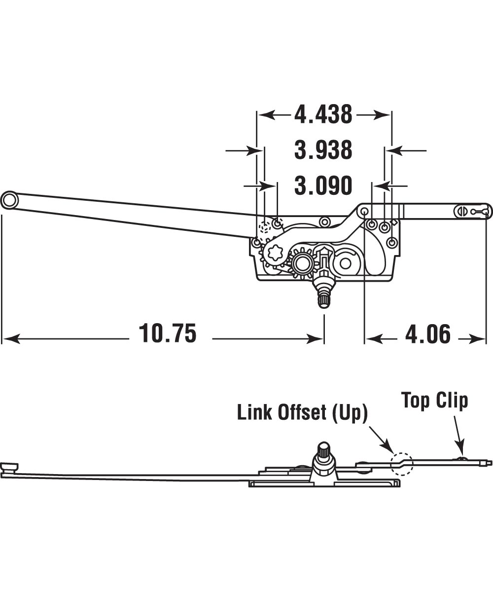 Entrygard Dual Arm Operator, LH, Stud Bracket, 1 set per pkg.